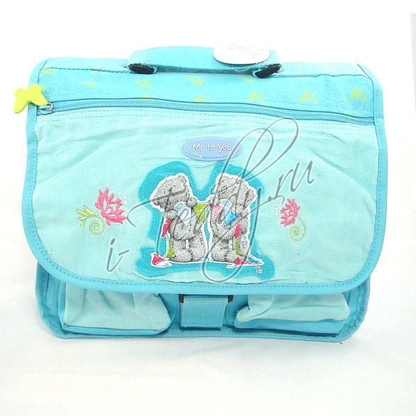 Портфель школьный вельветовый - голубой 33 см (ME TO YOU)
