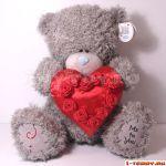 Мишка классический 45 см держит сердце с аппликацией из роз (ME TO YOU)